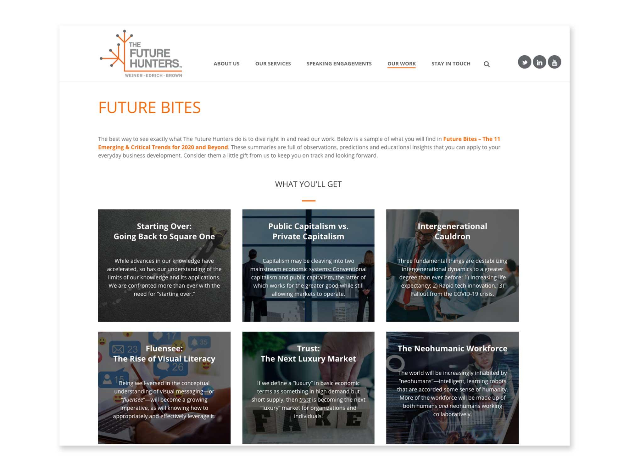 The Future Hunters Future Bites lead generator page design and development