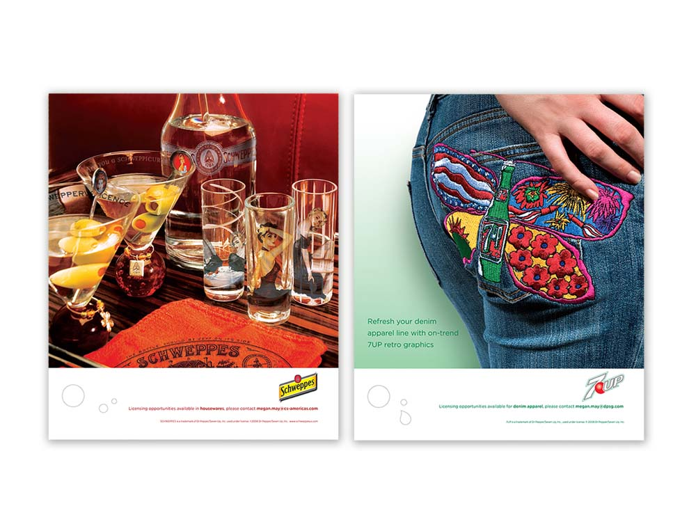 trade advertising campaign showcasing licensing opportunities - Schweppes & 7UP : alternatives : branding and design agency based in nyc