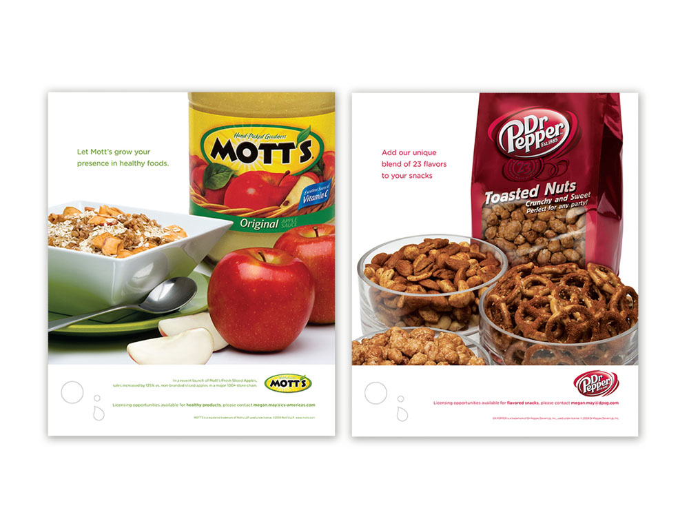 trade advertising campaign showcasing licensing opportunities - Mott's & Dr Pepper : alternatives : branding and design agency based in nyc