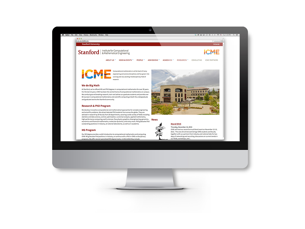 ICME brand identity website application