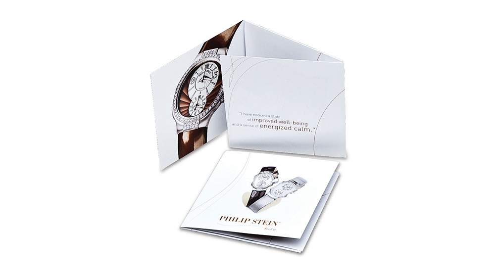 consumer and brand commitment brochures for Philip Stein luxury watches