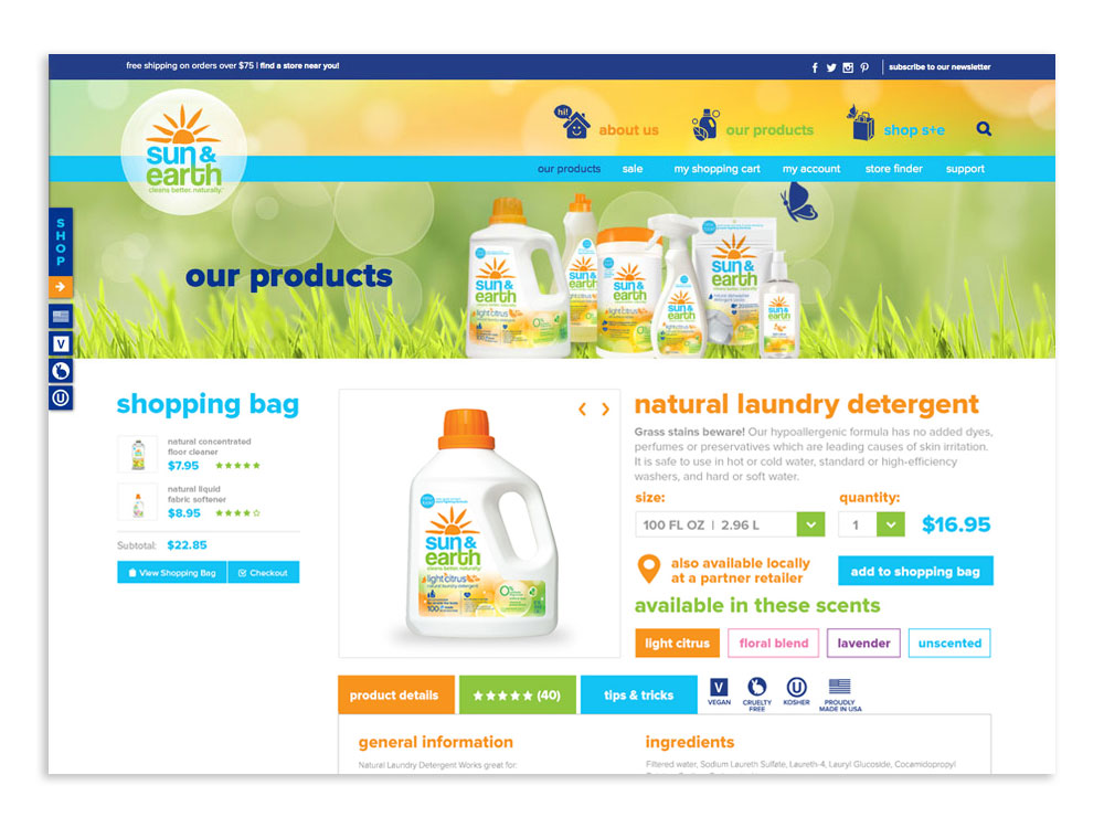 Sun & Earth: Website Product Page