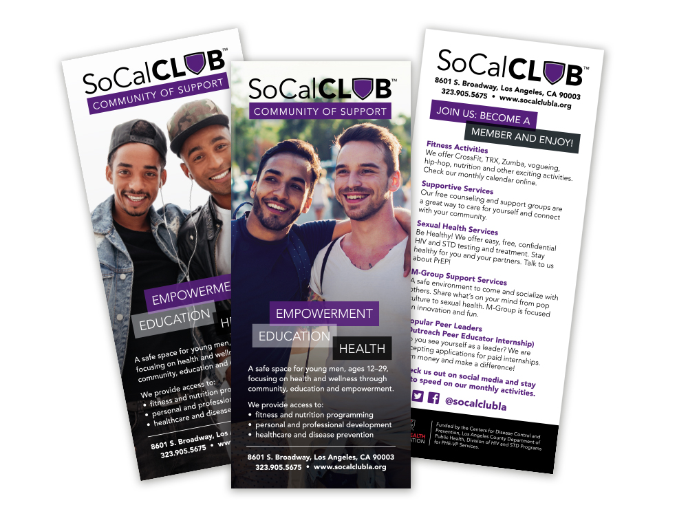 SoCal Club : System of print brochures help promote different events and programs hosted at SoCal Club.