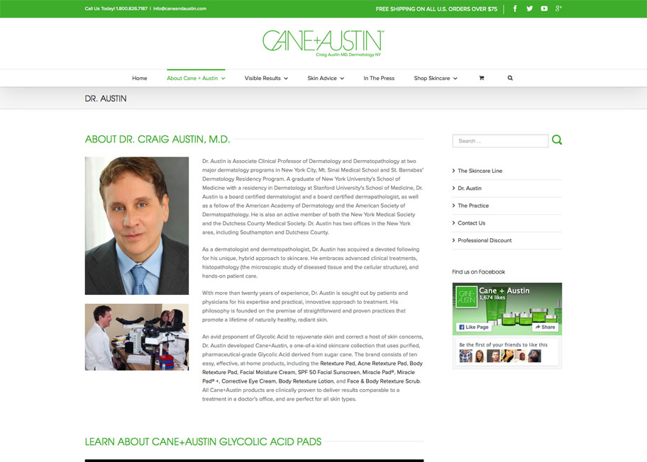 Cane+Austin about page design and development