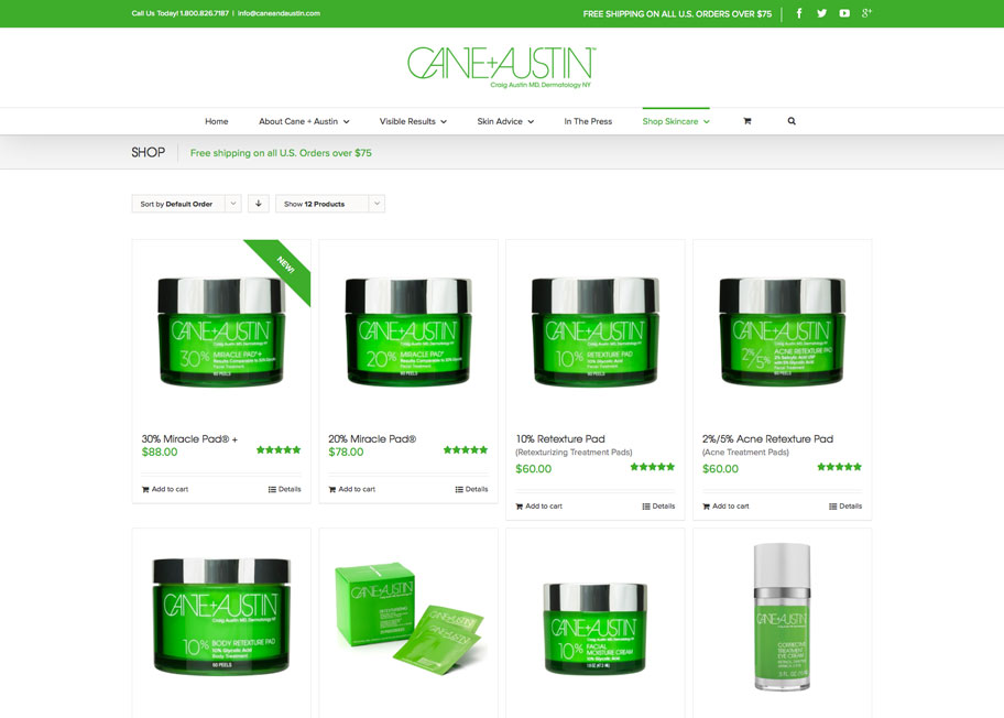 Cane+Austin ecommerce shop page design and development