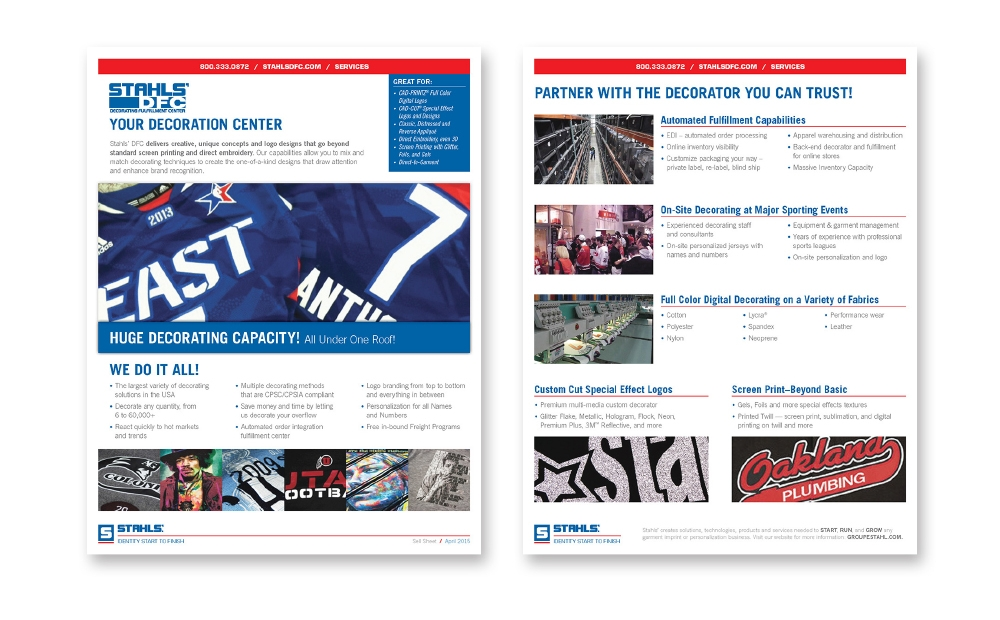 STAHLS' DFC sell sheets