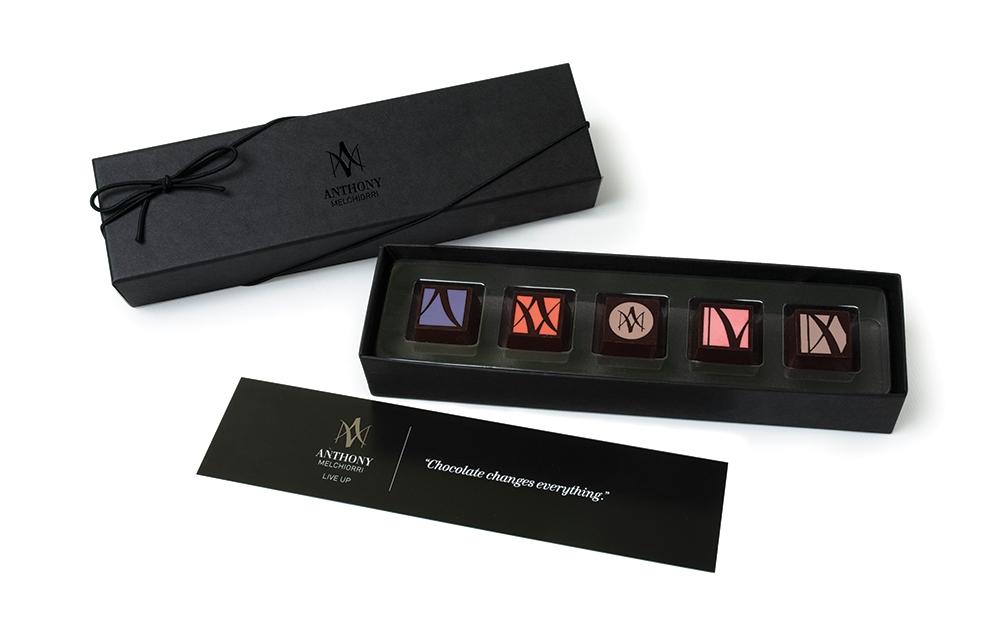 Anthony Melchiorri signature chocolates and custom box packaging