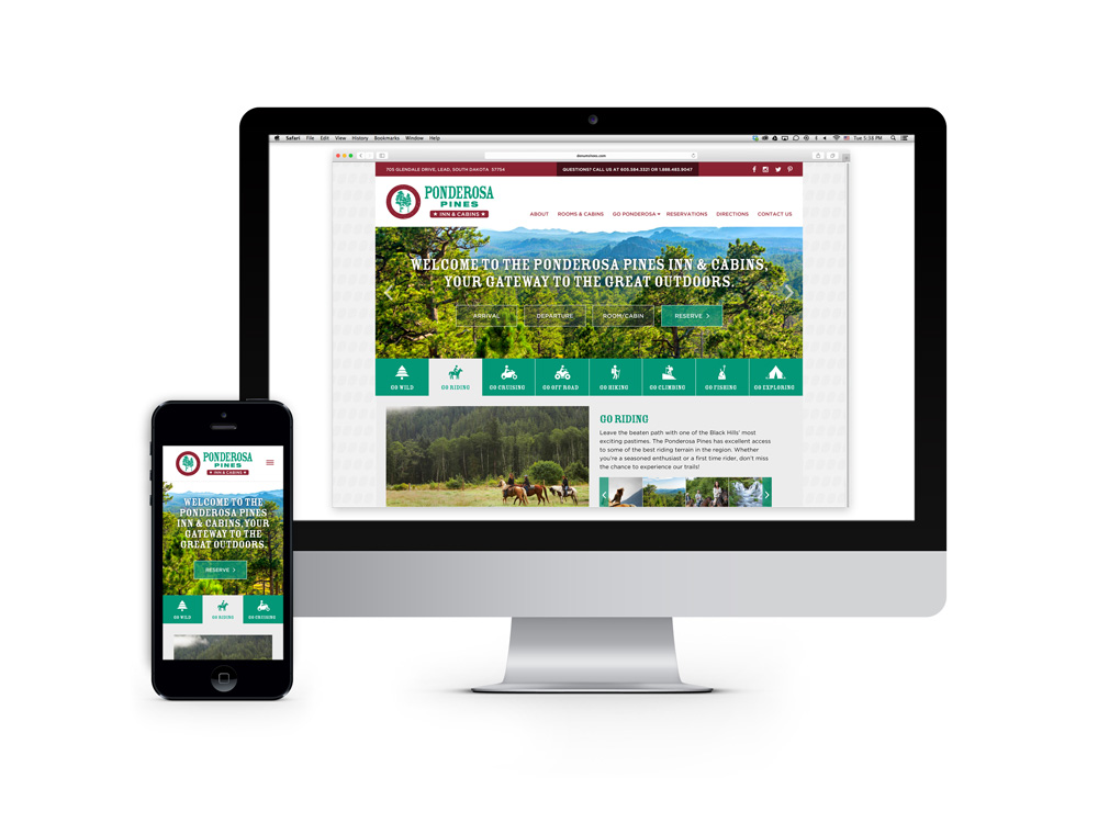 A proposed responsive website design which instantly communicates the unique personality and outdoor experience that Ponderosa Pines has to offer. : alternatives : branding and design agency based in nyc