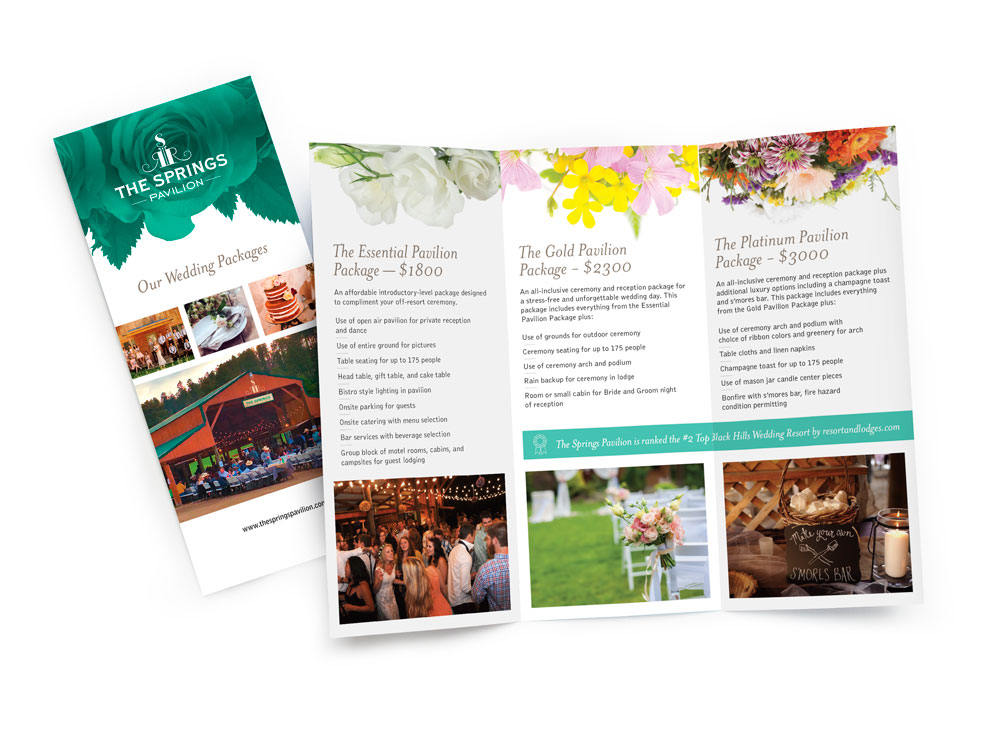 The Springs Pavilion brochure highlights wedding packages available to make planning easier : alternatives : branding and design agency based in nyc