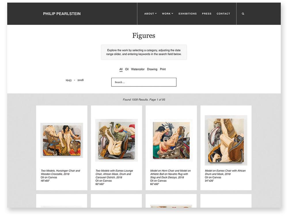 Philip Pearlstein Figure Web Page Design & Development