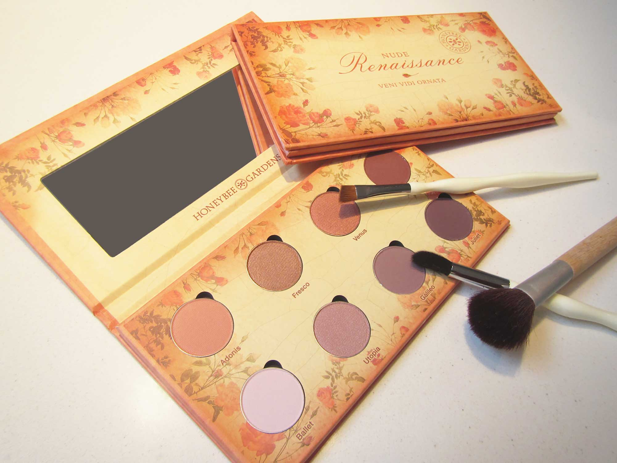 Honeybee Gardens packaging design for the Nude Renaissance eyeshadow palette
