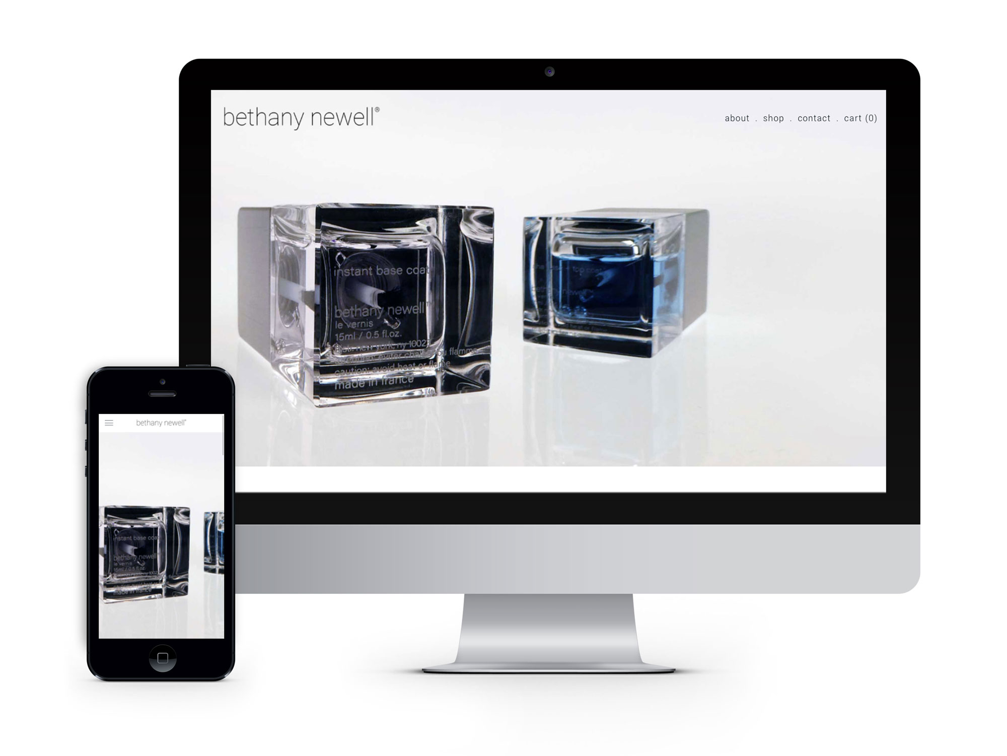 The Bethany Newell website brand communication and visuals focus on elevating the perception, building brand recognition, and driving sales on the site.