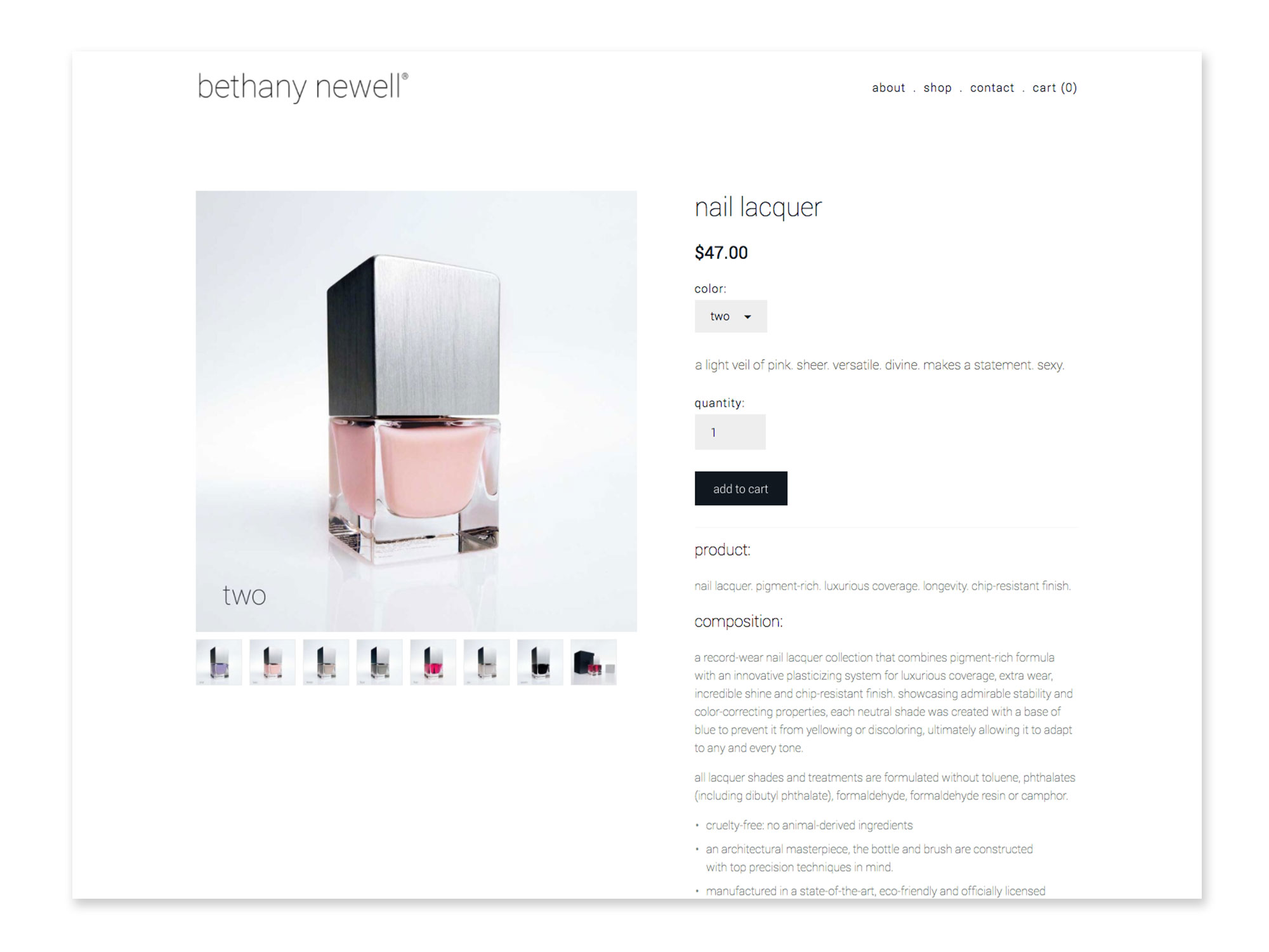 Bethany Newell Nail Lacquer Product Page creates a simple shopping interface and highlights these meticulously hand blended colors.