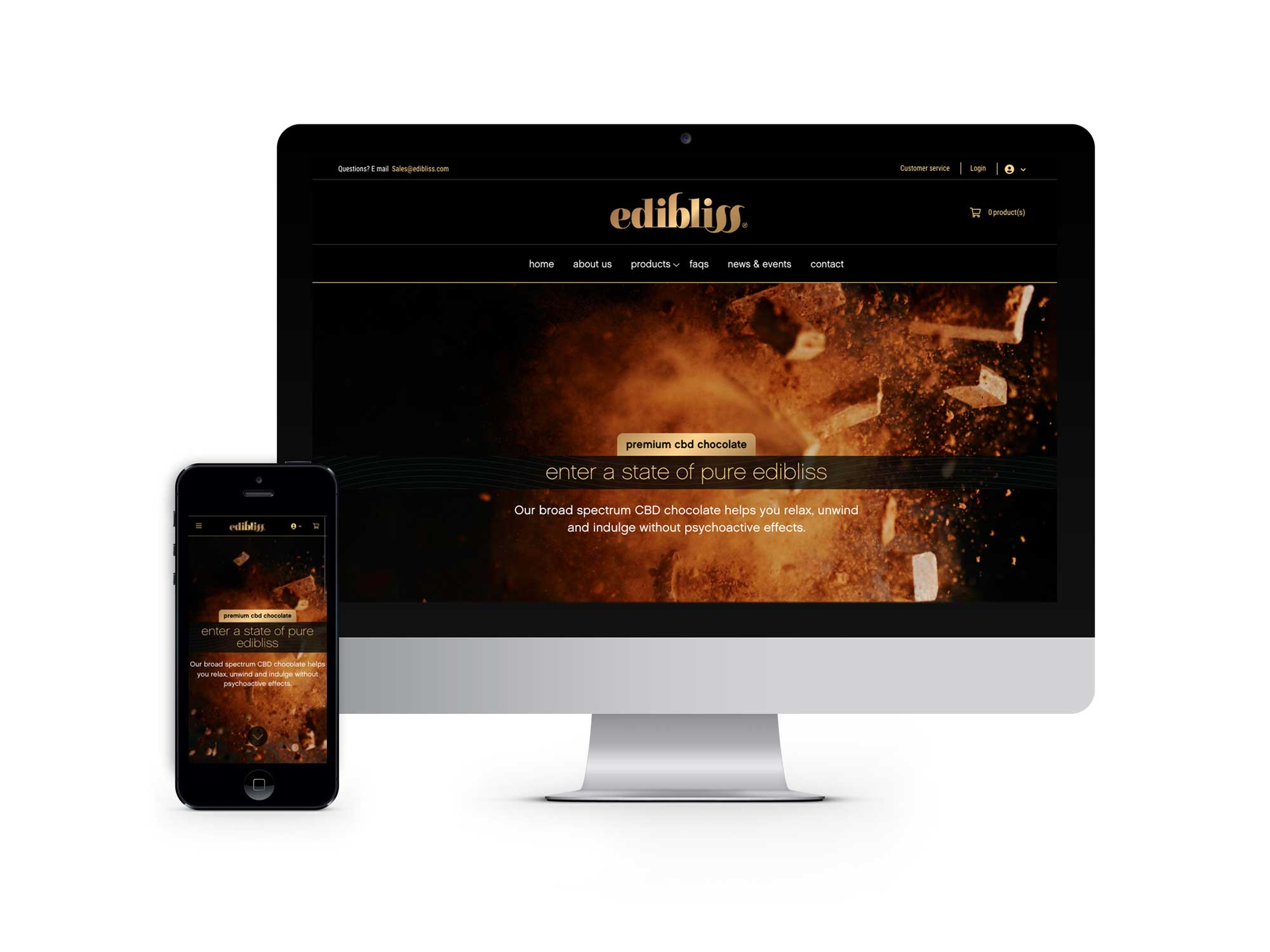 The Edibliss CBD chocolate mobile first, e-commerce website creates an experience of indulgence with an easy to shop, user-friendly interface.