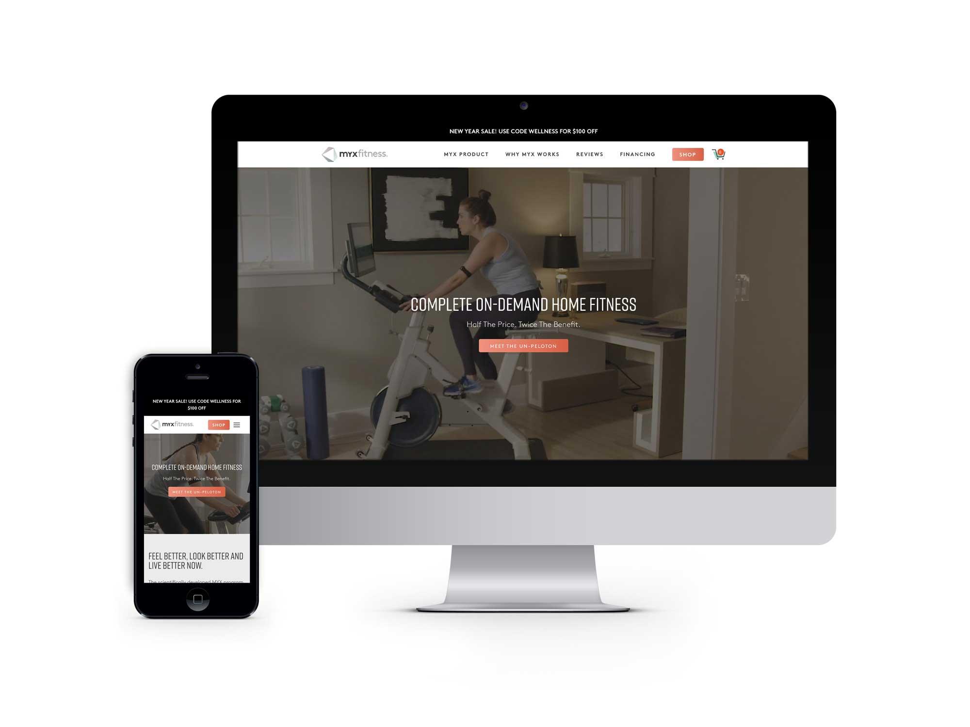 MYXfitness e-commerce, mobile first website design and development