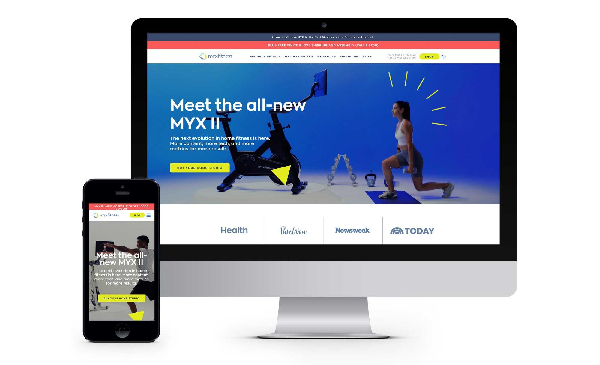 MYXfitness e-commerce, mobile first website development