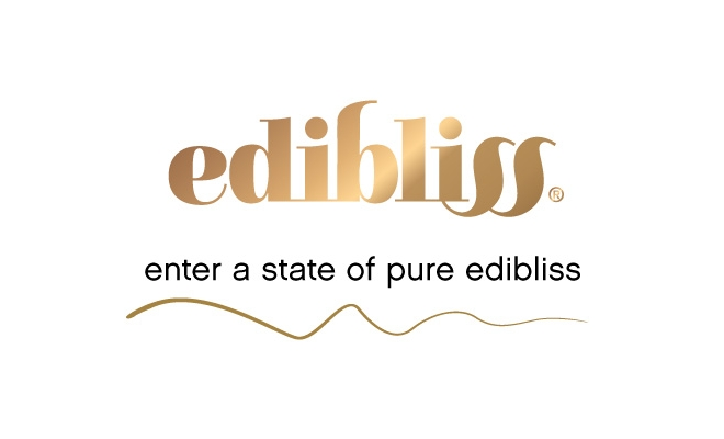 "The Edibliss CBD chocolate logo and tagline, ""enter a state of pure Edibliss"" evoke a silky-smooth blissful experience."