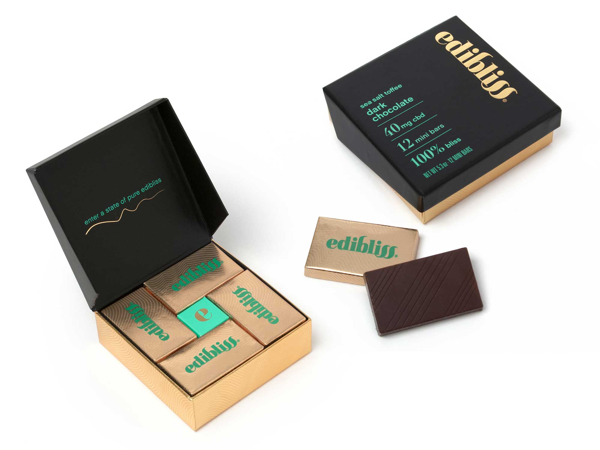 the Edibliss CBD chocolate packaging is artisanal and sophisticated in design, utilizing a rich color palette paired with gold foil treatments to clearly communicate exceptional quality, flavor variations and wellness benefits.