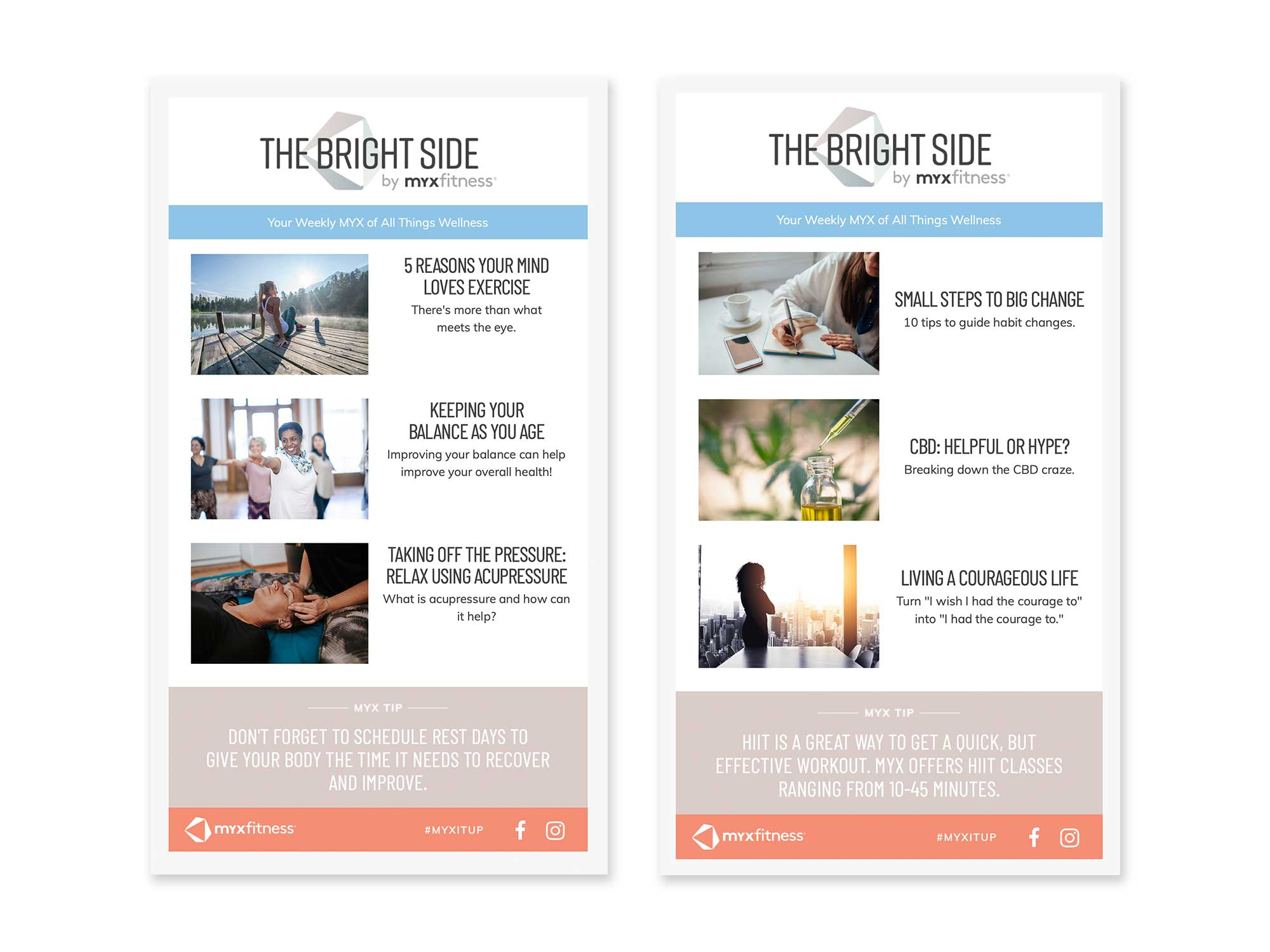 MYXfitness The Bright Side weekly email newsletter