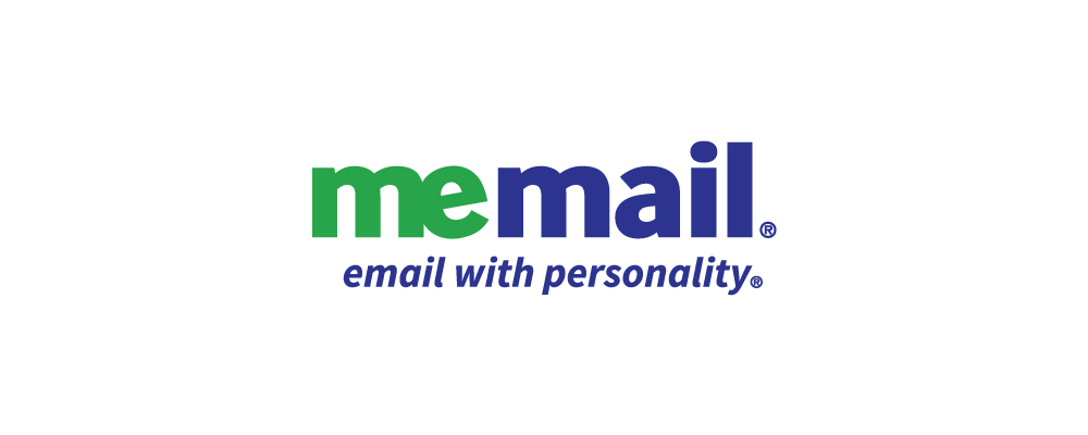 The MeMail logo and tagline invites the user to get email addresses that fit their personality