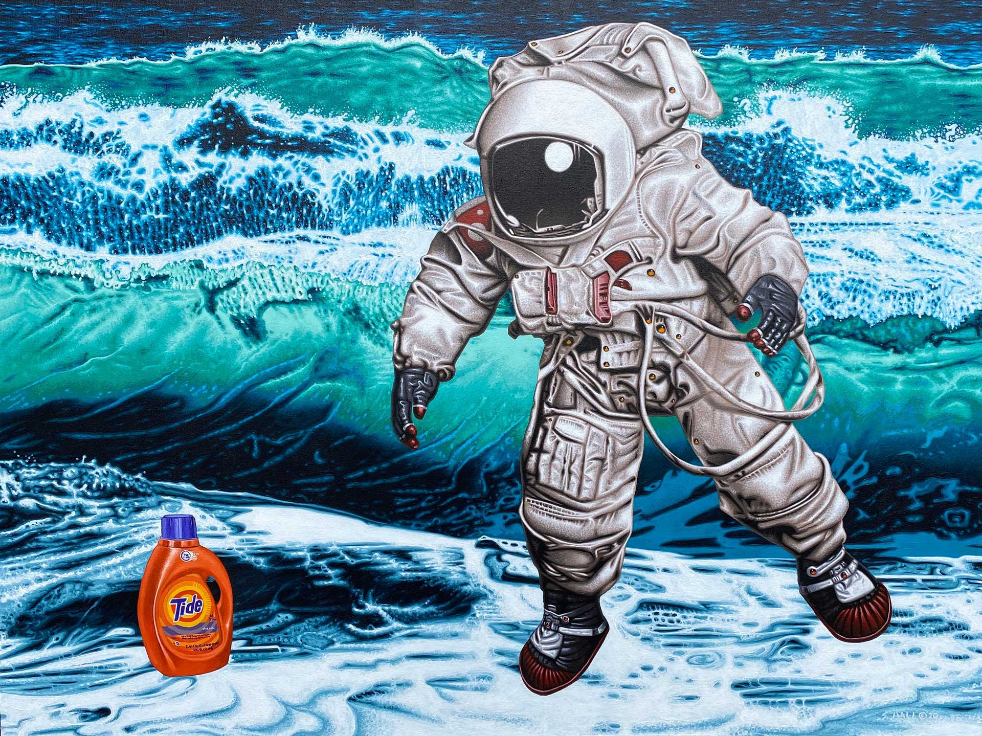 "Painting by Stephen Hall, ""The Search for Intelligent Life on Earth"""