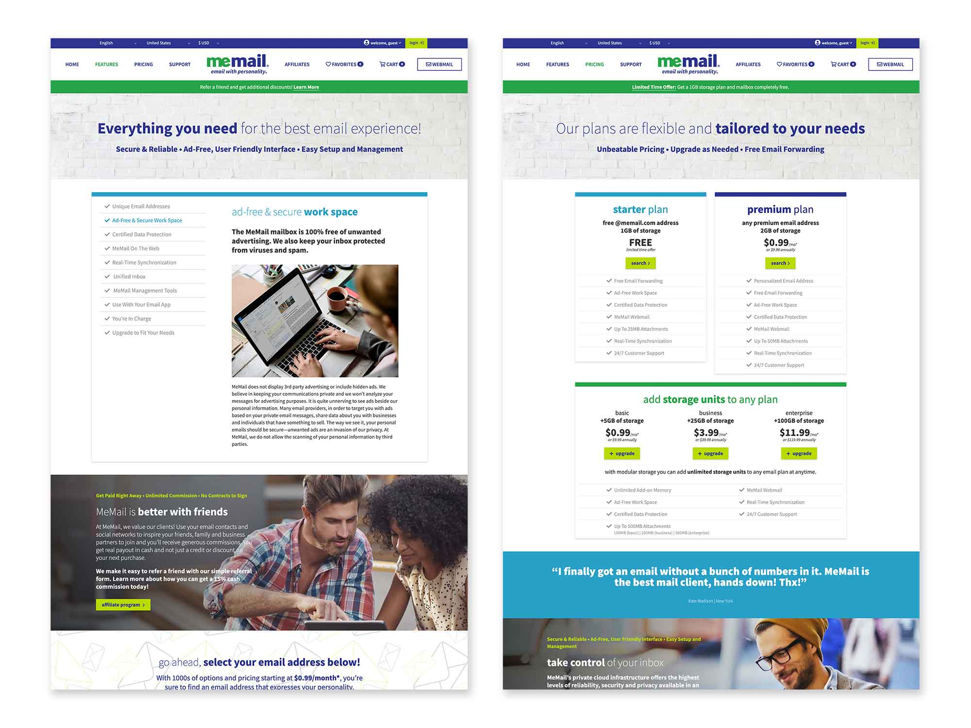 Features and Pricing pages showcase the wide range of benefits and options that come with MeMail plans.