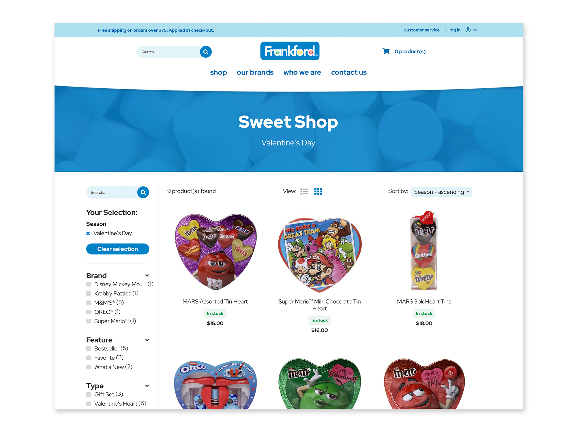 The Frankford Candy shop page.
