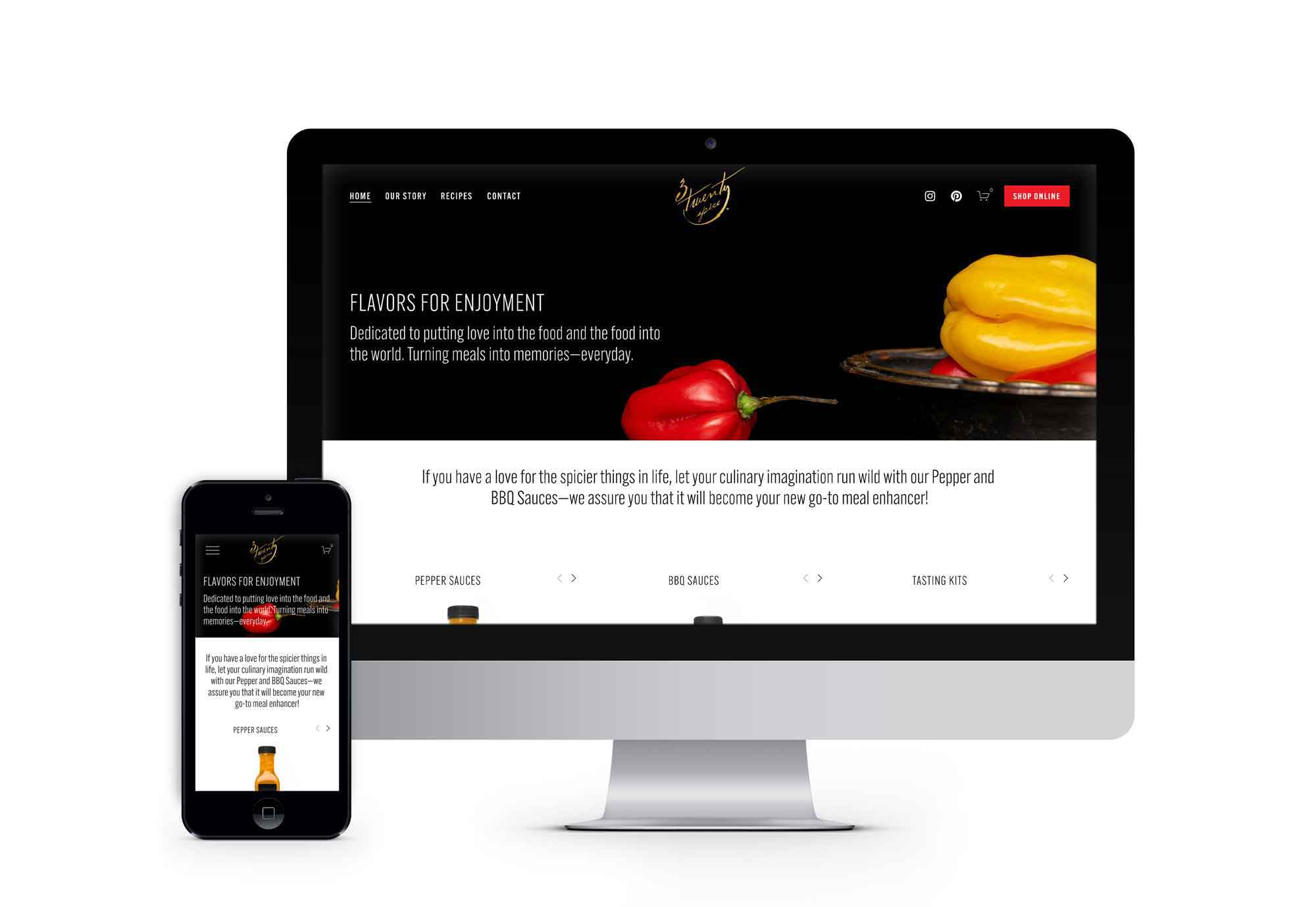 The 3TwentySpice e-commerce website provides an easy-to-shop interactive experience.