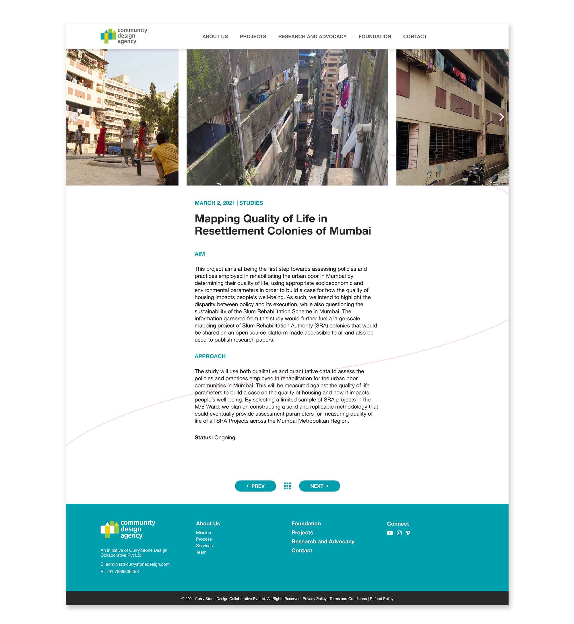 The Research and Advocacy Page helps to provide socio-cultural understanding of projects and the diverse perspectives and insights that can influence policy level decisions to create spatial equality and equity in the built environment.