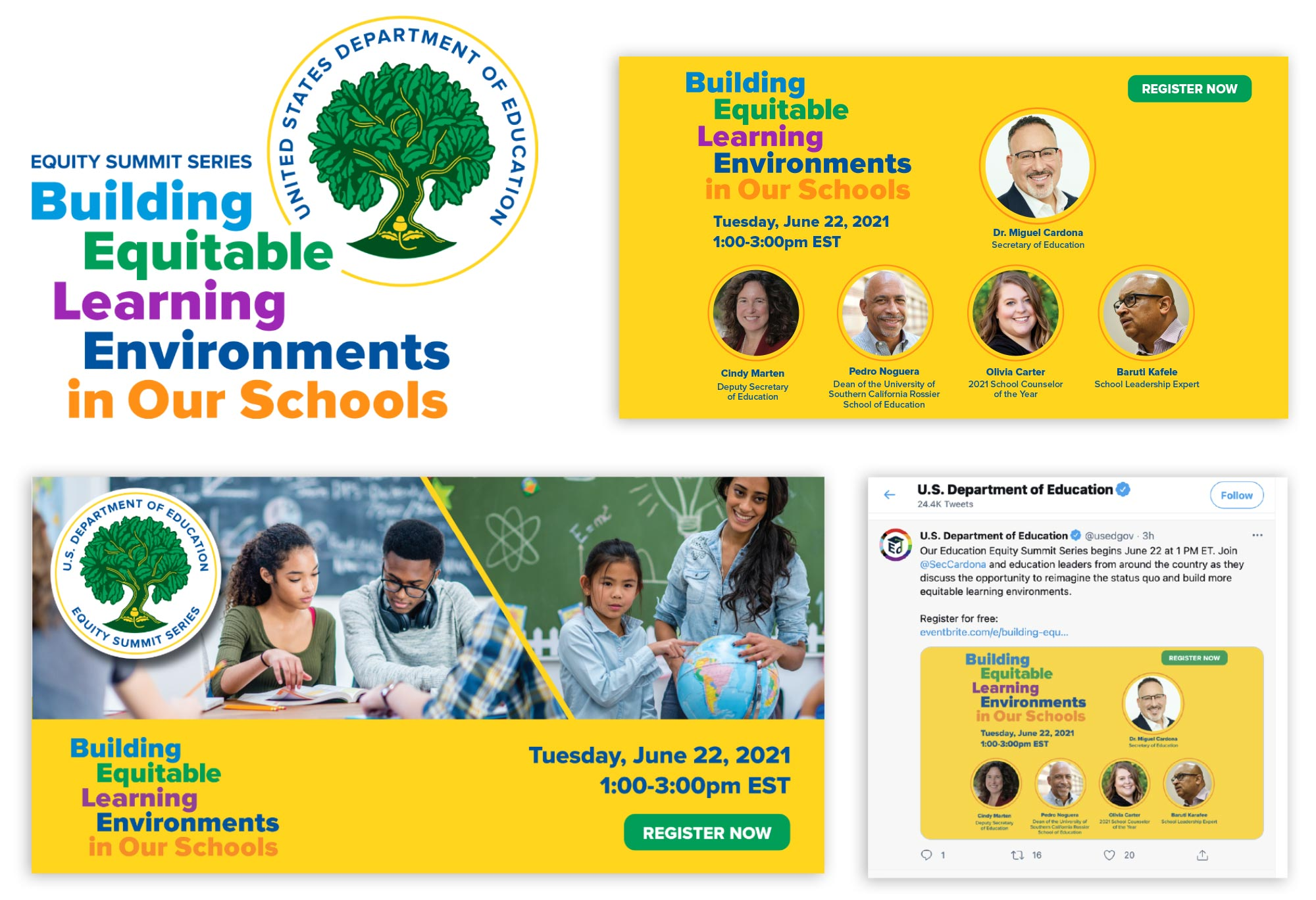The Educational Equity Summit Series: Event identity, header graphics and social media posts