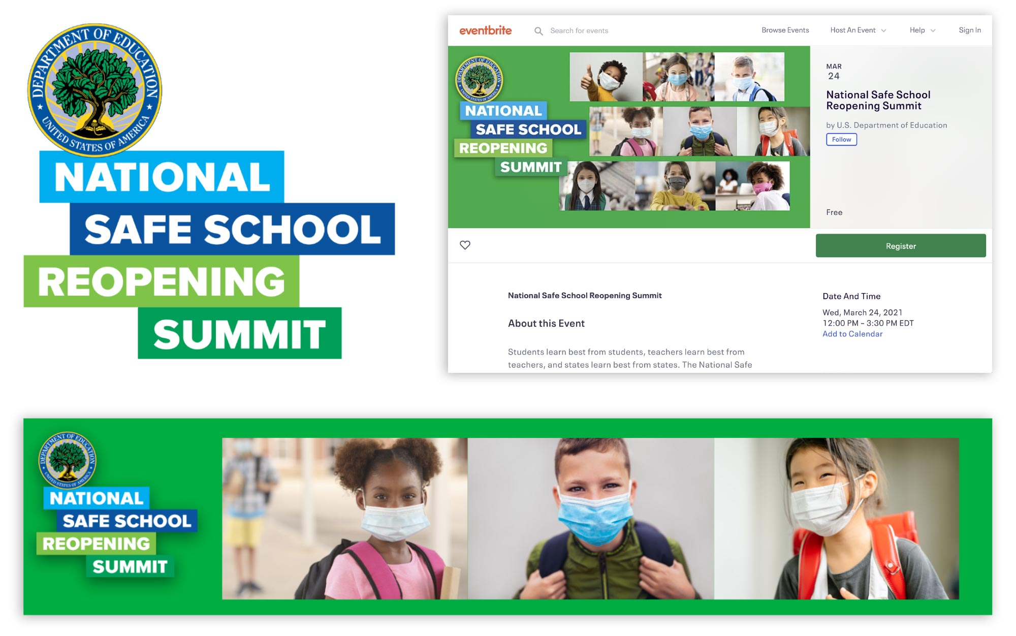 National Safe School Reopening Summit: Event identity, registration page and online header designs