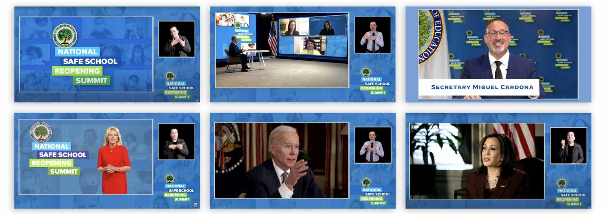 National Safe School Reopening Summit: Design of step-and-repeat virtual background graphics and presentation template