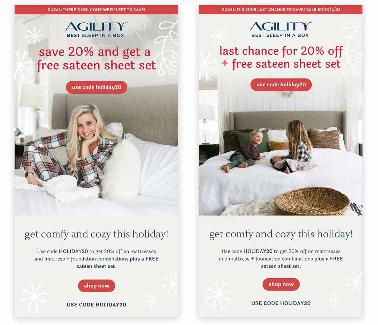 Targeted email blast campaigns and social media creative assets for holiday.