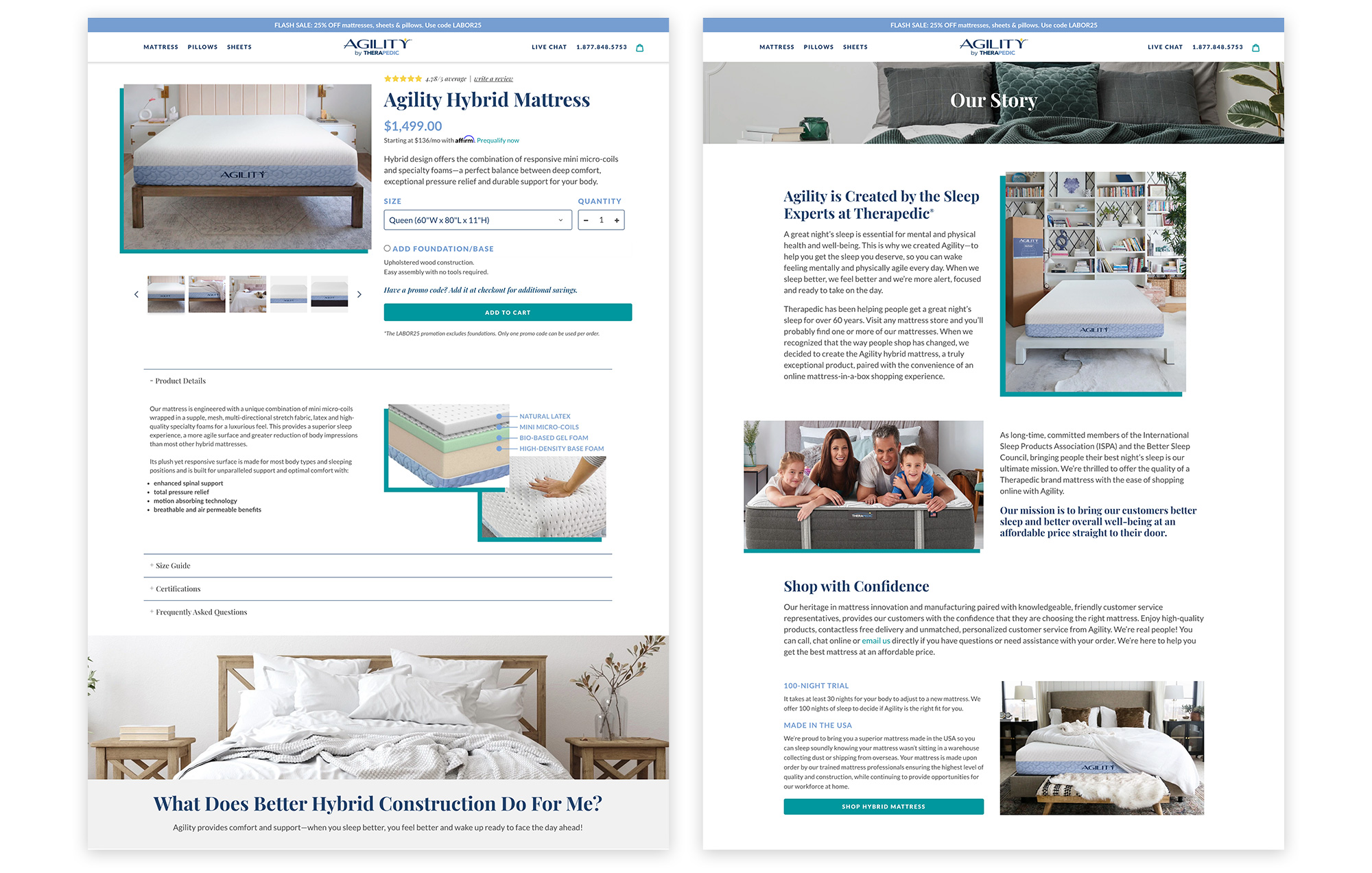 Agility Bed's Product and About Pages provide an engaging and content rich experience, to assist visitors in finding what they need to make a decision to purchase.