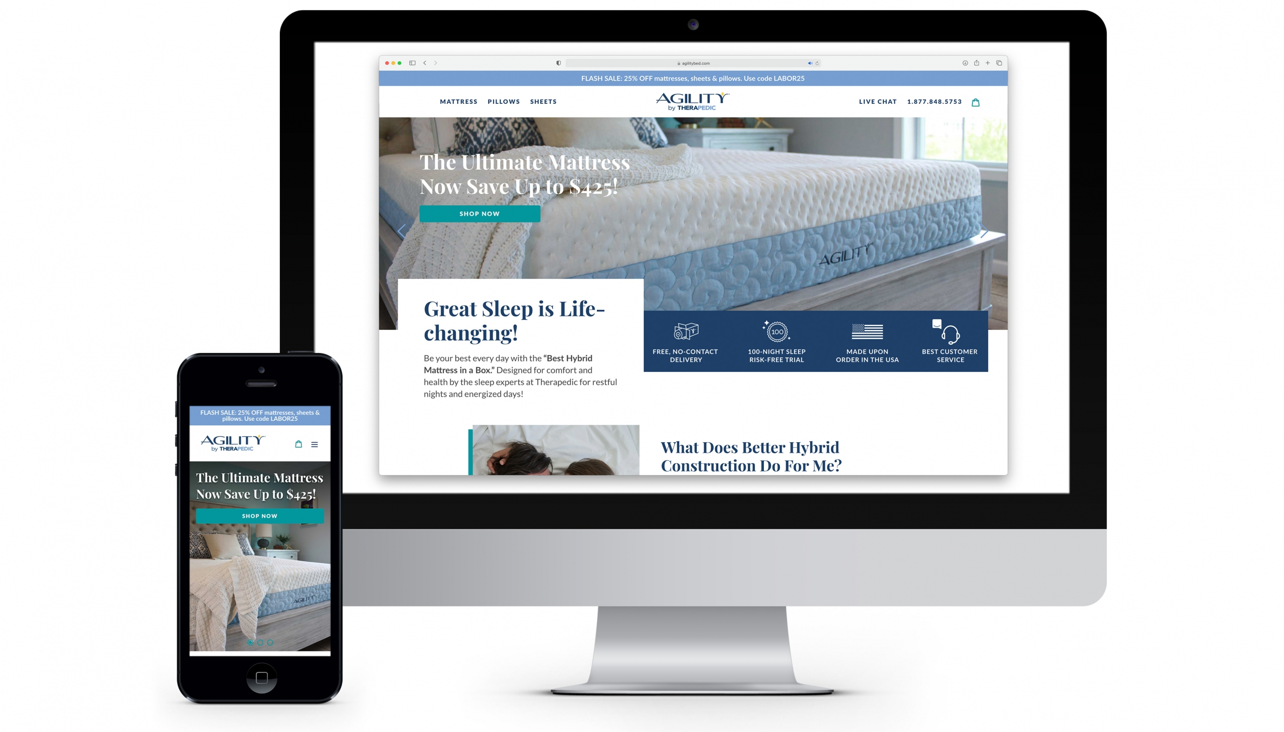 agilitybed.com has an editorial lifestyle look and feel that focuses on the emotional benefits of a good night's sleep supported by technical information about the products to provide the customer with everything they are looking for.
